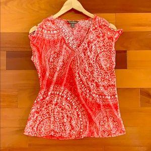 Tommy Bahama Cold Shoulder Linen Blouse Shirt Sm